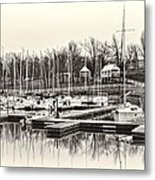 Boats And Cottages In B/w Metal Print