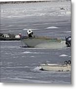 Boats And Ice Hobart Beach Ny Metal Print
