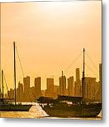 Boats And Skyscrapers Metal Print