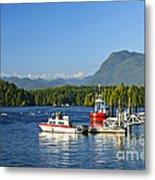Boats At Dock In Tofino Metal Print
