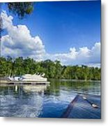 Boats At Dock On A Lake With Blue Sky Metal Print