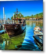 Boats At Kibbutz On Sea Galilee Metal Print
