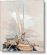Boats At Quayside Lake Geneva Metal Print