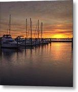 Boats At Sunset Metal Print