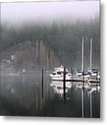 Boats Between Water And Fog Metal Print