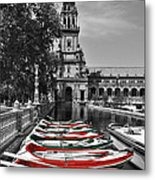 Boats By The Plaza De Espana Seville Metal Print by Mary Machare