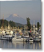 Boats Docked At A Harbor With Mountain Metal Print