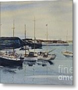 Boats In A Harbour Metal Print