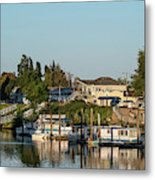 Boats In A River, Walnut Grove Metal Print