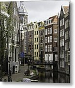 Boats In Canal Amsterdam Metal Print
