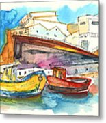 Boats In Ericeira In Portugal Metal Print