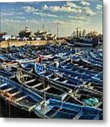 Boats In Essaouira Morocco Harbor Metal Print