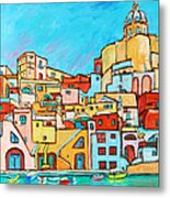 Boats In Front Of The Buildings Vii Metal Print