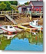 Boats In Halls Harbour-nova Scotia  Metal Print