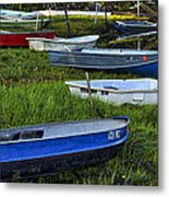 Boats In Marsh - Cape Neddick - Maine Metal Print