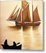 Boats In Sun Light Metal Print