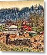 Boats In The Field Metal Print