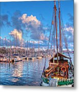 Boats In The Harbor Of Barcelona Metal Print