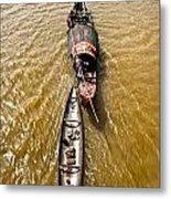 Boats In The Mekong River - Vietnam Metal Print