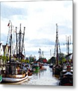 Boats In The Old Harbor Metal Print