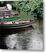 Boats In The Rain Ross Castle Ireland Metal Print