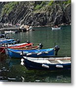 Boats In Vernazza Metal Print
