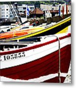 Boats On A French Beach Metal Print