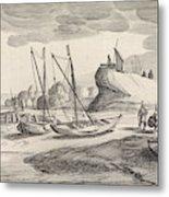 Boats On A River Bank, Jan Van De Velde II Metal Print