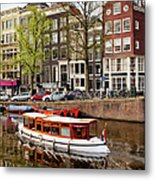 Boats On Canal In Amsterdam Metal Print by Artur Bogacki