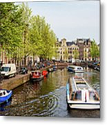 Boats On Canal Tour In Amsterdam Metal Print