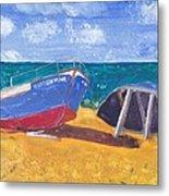 Boats On Cascais Beach Metal Print