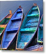Boats On River Metal Print