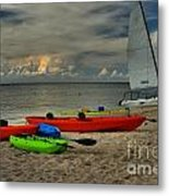Boats On The Beach Metal Print