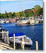 Boats On The Dock Traverse City Metal Print