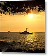 Boats Under The Hawaiian Sunset Metal Print