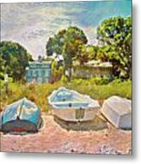 Boats Up On The Beach - Square Metal Print