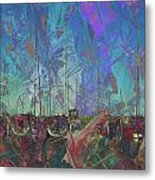 Boats W Painted Abstract Metal Print