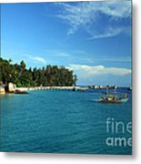 Boats With Beautiful Sea Metal Print