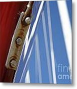 Boatyard Red White And Blue Metal Print