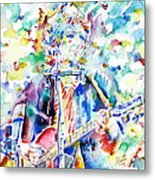 Bob Dylan Playing The Guitar - Watercolor Portrait.1 Metal Print