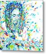 Bob Marley Playing The Guitar - Watercolor Portarit Metal Print