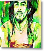 Bob Marley Watercolor Portrait.9 Metal Print