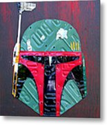 Boba Fett Star Wars Bounty Hunter Helmet Recycled License Plate Art Metal Print
