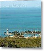 Boca Chita Lighthouse And Miami Skyline Metal Print