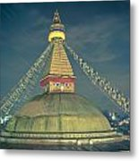 Bodhnath Stupa At Night In Kathmandu Metal Print