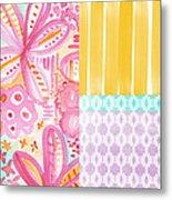 Boho Aztec Patchwork- Flower Painting Metal Print