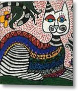 Boho Cat And Flowers Metal Print