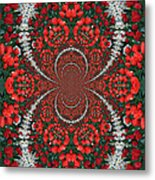 Tulips Kaleidoscope - Red And Green Metal Print
