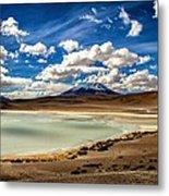 Bolivia Lagoon Clouds Framed Metal Print