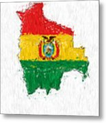 Bolivia Painted Flag Map Metal Print